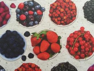Digitaldruck beschichtet mit Obsttörtchen, Breite 140cm