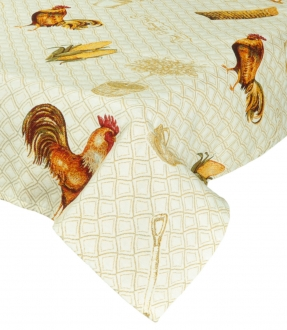 Gobelin-Decke Landhaus Beige mit Hühnern II, 140x140 cm