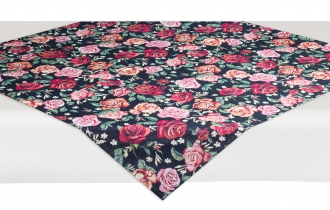 Gobelin-Decke Noir mit Rosen, ca. 100x100 cm