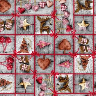 Herzen Grau, Weihnachtsstoff, Breite 140 cm