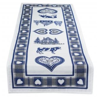 Wunderschöner Tischläufer, Landhaus, Doubleface, Herzen, Blau, ca. 45x140cm