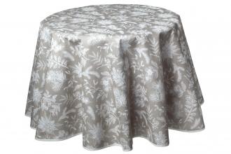 Elegante Tischdecke, rund 180 cm, Ilex Natur, pflegeleicht