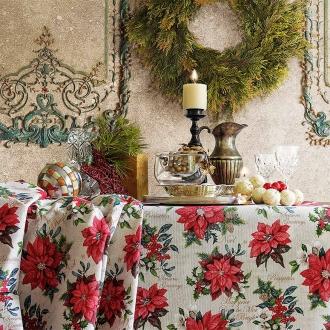 Sehr schöne Weihnachtstischdecke, ca. 200x130 cm, Christsterne, pflegeleicht