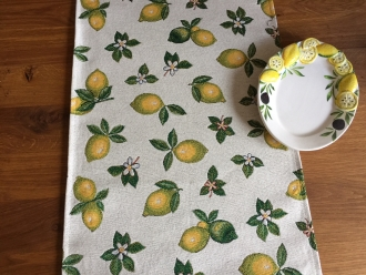 Gobelin Tischläufer Zitronen allover, ca. 40x140cm