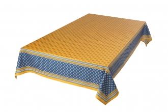 Provencetischdecke Bormiou, 250x150 cm gelb-blau, Baumwolle beschichtet,