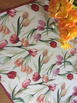 Mitteldecke Gobelin mit Tulpen, ca. 100x100 cm