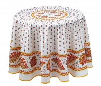 Provencetischdecke, Mirabeau Ecru-orange, 100% Baumwolle, 180cm Durchmesser