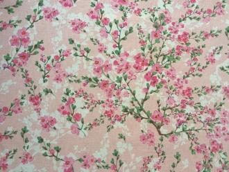 Linnen Kirschblüten, Stoffbreite 140cm, pflegeleicht