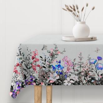 Blumen-Tischdeckenstoff, Spiegelbordüre, Breite 140 cm, Pflegeleicht