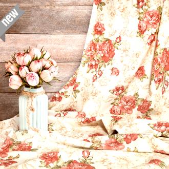 Rosenstoff AITANA, lachsfarbene Rosen, Breite 280 cm, pflegeleicht