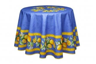 Provencetischdecke Menton, blau mit Zitronen, rund 180 cm Baumwolle