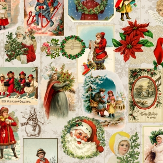 Baumwolle Weihnachtsstoff Oldtime Christmas Natur, Digitaldruck, Breite 150cm