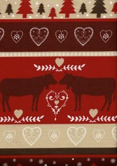 Spiegelbordüre Weihnachten, Beschichtete Baumwolle, Breite 160 cm