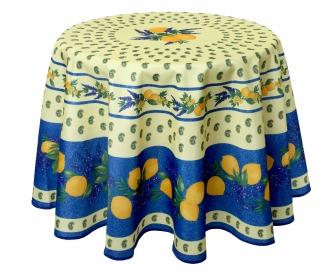 Citrus Blau, Runde Decke ca. 180 cm, Antitache