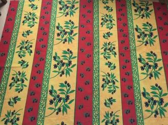 Tischdecke Rot-gelb Bordüre mit Oliven abwaschbar 300x160 cm