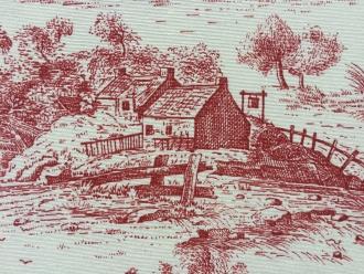 Toile de Jouy rot-weiß, pflegeleicht, Breite 280 cm