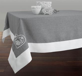 Tischdecke abwischbar Landhaus grau-weiß, ca. 150x240 cm, Antitache, Schmutz- und Wasserabweisend