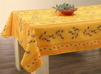 Tischdecke 240x150 cm gelb-rot Oliven,  Olivette, abwischbar