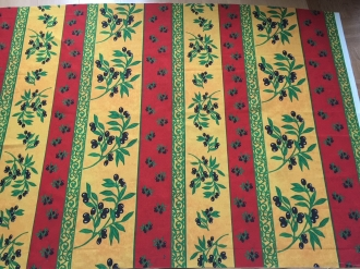 Provence-Tischdecke 200x140 rot-gelb Oliven Pflegeleicht