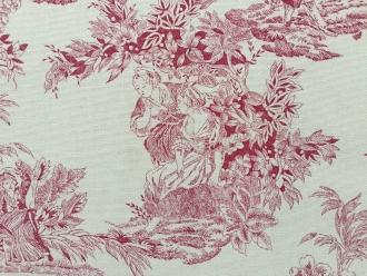 Toile de Jouy rot, Geisha, 140 cm breit, reine Baumwolle