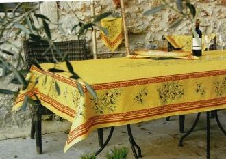 Maussane Provence-Tischdecke, ca. 250x150 cm, gelb-cotto Oliven, Baumwolle beschichtet