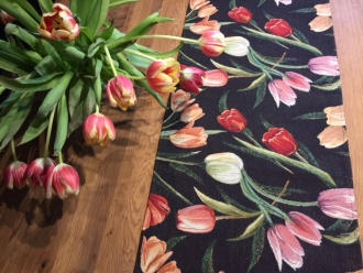 Gobelin Tischläufer Tulpe Noir, ca. 40x140 cm