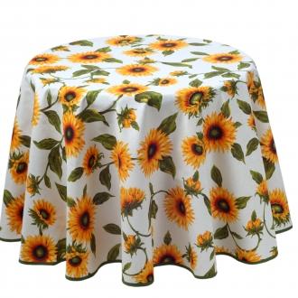 Provence-Tischdecke mit Sonnenblumen, rund 180 cm, Pflegeleicht, Landhaus