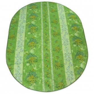 Ovale Tischdecke 200x140 cm grün Mimosen