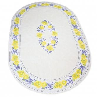 Ovale Tischdecke, weiß mit Sonnenblumen, ca. 240x150cm