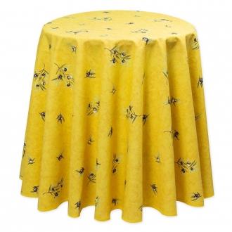 Gelb Oliven allover, runde Decke, 140 cm, abwischbar