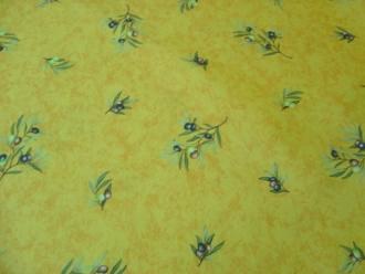 Tischdecke Gelb mit Oliven abwaschbar, ca. 120x160 cm