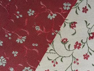 Doubleface Petit Fleurs rot-weiß, Breite 140 cm