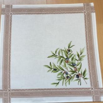 4 Stoff-Servietten Maussane Natur Oliven 40x40cm