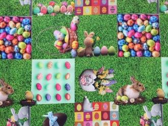 Frühlingsstoff Osterhase, Digitaldruck, Breite 140cm, Baumwolle