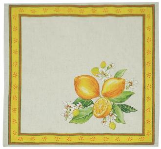 4 Stoff-Servietten Natur Zitronen Baumwolle, ca. 40x40cm