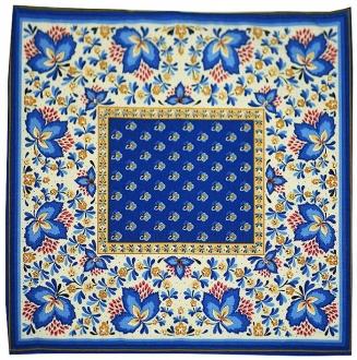 6 Stoff-Servietten blau Fleur Baumwolle, ca. 35x35cm