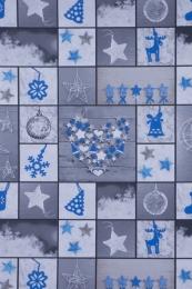 Weihnachtsstoff blau mit Rentieren, Breite 140cm