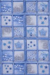 Weihnachtsstoff blau mit Sternen, Breite 140cm
