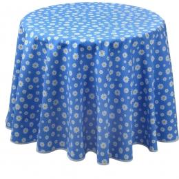 Landhaustischdecke, blau mit Gänseblümchen, rund 140 cm Durchmesser