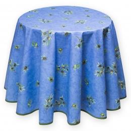 Provence-Tischdecke blau mit Oliven, pflegeleicht, rund 180 cm