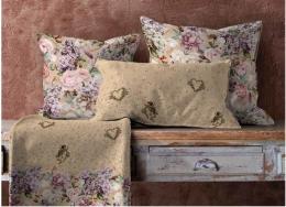 SSV 15% RabatShabby, Digitaldruck Baumwolle mit Rosen u. Hortensien, allover, Breite 160cm