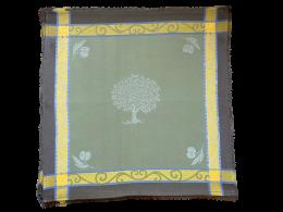 4 Servietten Provence Jacquard grün Oliven Baumwolle