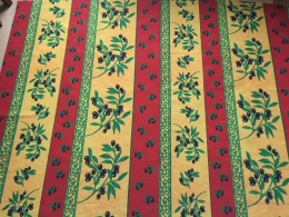 Provencestoff rot-gelb Oliven Bordüre, Breite 140 cm, Pflegeleicht