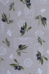 Pflegeleichte Tischdecke, 200x140 cm, Natur mit Oliven