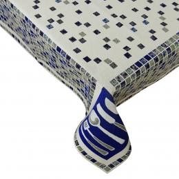 Gobelin-Decke Landhaus Beige-Blau, 140x140 cm
