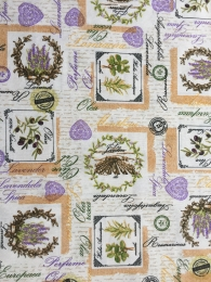 Dekostoff Kräuter, Oliven und Lavendel, sehr pflegeleicht, Breite 280 cm