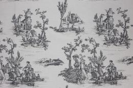 Toile de Jouy Gobelin anthrazit, Breite 140 cm