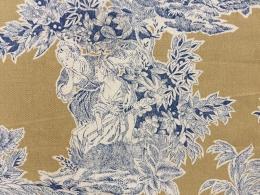 Toile de Jouy blau Geisha, Breite 140 cm, Baumwolle