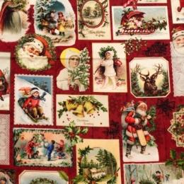 Baumwolle Weihnachtsstoff Oldtime Christmas,  Digitaldruck, Breite 150cm