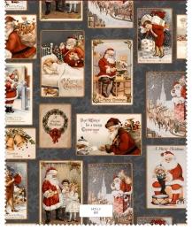 Weihnachtsstoff Santa Claus gray, Baumwolle, Digitaldruck, Breite 150cm